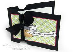 Sandy Allnock -On this card, the wide layer and wide ribbon, both in black, create some extreme contrast next to the light patterned paper and lightly colored images.