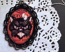 Black Cat Ouija Board Cameo Necklace, Vintage Halloween Necklace, Gothic Cameo