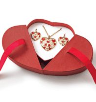 "Floating Hearts Necklace and Earring Gift Set. Goldtone and enamel-look. Necklace, 16 1/2"" L with 3 1/2"" extender. Pierced earrings, 1"" L. Comes in a gift box.  GOOD TO KNOW All of Avon's jewelry is nickel-free for those with sensitive skin & allergies to nickel."