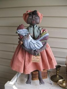One of the top selling patterns on etsy and ebay for making primitive folkart fabric mammy doll with her rooster. And you get a free pattern too with hang tags.