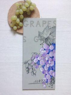 Uva dipinta e dipinto cucina/ Frutta dipinta per la cucina/ Arte e oggetto da collezione/ Decorazione per cucina/ Il grappolo d'uva dipinto
