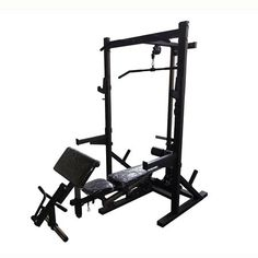 Buy Squat Half Rack with Lat Pulldown & Row Pulley. Ntaifitness Half Rack System allows you to do all the core lifts from squats and bench press to lat pulls low rows, and leg extensions. Add Lat functionality to your Rugged Half Rack, a plate load carriage adds resistance to lat and cable exercises. Gym Equipment Names, Gym Equipment For Sale, Exercise Equipment, Weight Cage, Half Rack, Cable Workout, Squat Press, Squat Stands, Lat Pulldown