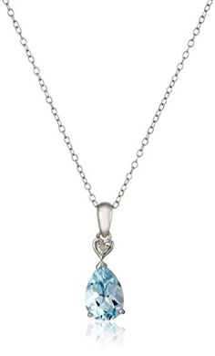 Sterling Silver Blue Topaz and Diamond Accent Drop Pendant Necklace 18 -- Read more  at the image link. (This is an Amazon affiliate link and I receive a commission for the sales and I receive a commission for the sales)