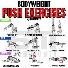 Push Day Workout, Home Workout Men, Gym Workouts For Men, Mini Workouts, Gym Workout Chart, Gym Workout Videos, Workout Guide, Workout Diet, Workout Plans