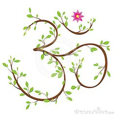 Om symbol made of twigs, leaves and a blossom. Om or Aum is a sacred syllable in Hinduism, Buddhism and Jainism.