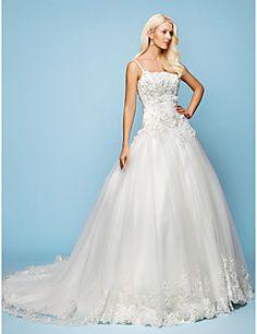 Vestido de Noiva Trapézio/Princesa Alças Finas Cauda Corte (... – BRL R$ 1.606,46
