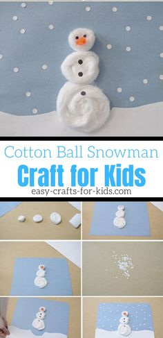 This cotton ball snowman craft is suitable for young and older kids alike! This super simple winter craft is fabulous Winter Crafts For Toddlers, Winter Activities For Kids, Crafts For Kids To Make, Toddler Crafts, Preschool Crafts, Kids Crafts, Winter Kids, Preschool Ideas, Snow Crafts