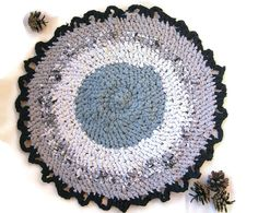 Rustic Cats Mat Crocheted Chair Pad Small Round Crochet Upcycled Rag Rug  Gray Pet Rug Blue Grey Car Seat Cat Mat Gray Cat Bed Gray Play Mat