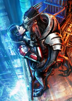 The rather unusual pairing of Femshep and Saren, done by efleck on deviantart!