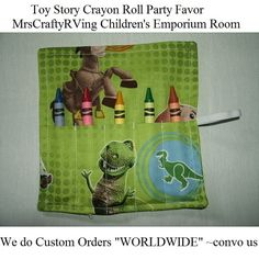 Toy Story Crayon Roll Party Favor by MrsCraftyRVing on Etsy, $2.00