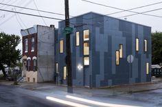 100K House - Philadelphia vertical striping of two colors of fiber cement panels