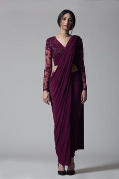 Buy online Sarees - Wine v-neck concept sari from Bhaavya Bhatnagar Drape Sarees, Saree Draping Styles, Saree Styles, Silk Sarees, Trendy Sarees, Stylish Sarees, Street Style Photography, Saree Designs Party Wear, Sari Dress