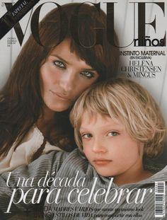 Helena Christensen and son Mingus, Vogue cover Vogue Magazine Covers, Fashion Magazine Cover, Fashion Cover, Vogue Covers, Fashion Shoot, Helena Christensen, Stephanie Seymour, Danish Fashion, Michael Hutchence