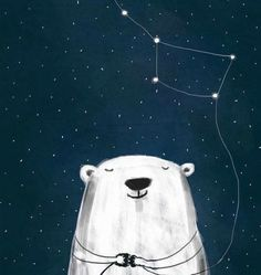 """Arctic Constellations"" - Ursa Major by Katerina Nikolovska Illustration Inspiration, Cute Illustration, Negative Space Art, Art Watercolor, Arte Sketchbook, Bear Art, Oeuvre D'art, Cute Art, Illustrators"