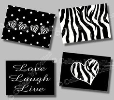 Zebra Print Inspirational Laugh LIVE Love Quote Art Girl Room Wall Decor HEARTS via Etsy
