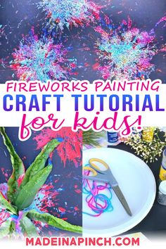 Here's how to use items right from the backyard to make a fun and unique fireworks painting. This craft is perfect for kids from toddler up! I'm a huge fan of encouraging kids to make different crafts. I've seen firsthand the benefits that crafting experiences have brought to kiddos of all ages! And I think that kids need to experiment with a variety of techniques and mediums to build those neural connections. | @made_in_a_pinch #kidsjuly4thcrafts #summercrafts Crafts For Kids To Make, Craft Activities For Kids, Summer Activities, Preschool Crafts, Family Activities, Kids Crafts, Craft Ideas, Creative Kids, Creative Crafts