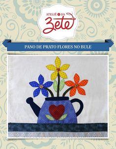 Projeto Pano de Prato Flores no Bule | Ateliê da Zete | Elo7