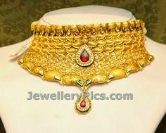 Designer Heavily designed gold choker - Latest Jewellery Designs
