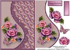 A5 card front with a teardrop shaped side panel and decoupage, featuring flowers, a butterfly and a lace trim. There is a Happy Birthday sentiment or a blank tag for your own message making this a versatile card for many occasions.