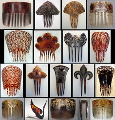 Assortment of 1820s - 1920s tortoiseshell, horn and celluloid combs.