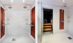 Kylpyhuone ja sauna, n. 7,5 m². Valkoista pesuhuonetta on piristetty ihastuttavilla, punaisilla mosaiikkitehosteilla. Tunnelmallinen sauna on luotu kauniilla materiaaleilla ja sopivalla valaistuksella. Tässä saunassa saunomiselämys on todella rentouttava! Mirror, Bathroom, Frame, House, Furniture, Home Decor, Washroom, Picture Frame, Decoration Home