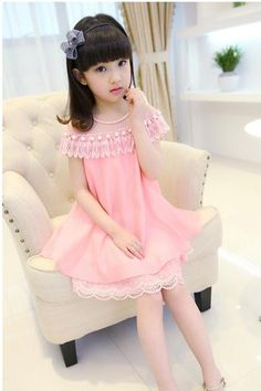 2016 Girls Dresses Summer Children's Princess Skirt Children's Clothing New Pink Lace Chiffon Dress F-0046