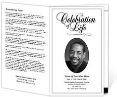 Classic Funeral Program Template | Memorial Service Bulletin Templates