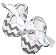 Grey and White Chevron Crib Shoes Soft by LilToesandHairbows, $12.00