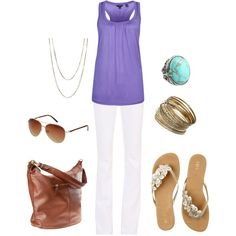Purple & White for Summer, created by lindsay @ polyvore.com