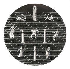 Richard Ginori - Passeggiata Archeologica Nero Piatto ø cm 33 - Giò Ponti Gio Ponti, Porcelain Vase, Ceramic Vase, Piero Fornasetti, Italian Pottery, Art Deco, Mid Century, Clock, Architecture