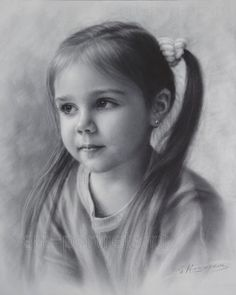 Portrait Drawing of a little girl by Dry brush