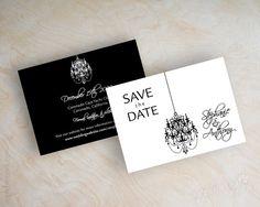 Chandelier save the date card, black and white save the date magnet, black and white save the date postcard, modern, Mireya