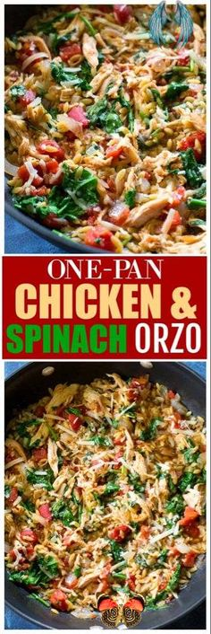 One Pan Chicken and Spinach Orzo - The Girl Who Ate Everything This One-Pan Chicken Spinach Orzo is an easy weeknight dinner with chicken and spinach in a creamy tomato orzo. #healthy #onepan #italian #dinner<br> Orzo Recipes, Chicken Recipes, Dinner Recipes, Cooking Recipes, Healthy Recipes, Healthy One Pot Meals, Kid Recipes, Dinner Healthy, Dinner Menu