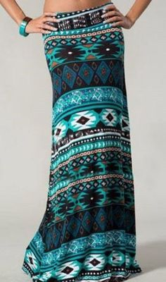 Turquoise Blue and Black Ethnic Style Geometric Print Expansion Maxi Skirt #Unique_Boho_Style