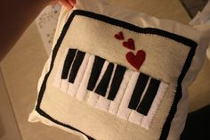 Piano heart pillow homedecor pillow felt piano music by mukibaba, $19.00