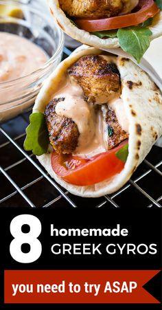8 homemade Greek gyros you'll need to try ASAP. Lamb Gyro Recipe, Chicken Gyro Recipe, Chicken Gyros, Tostadas, Tacos, Enchiladas, Burritos, Greek Roasted Potatoes, Lamb Gyros