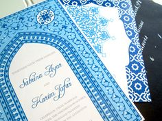 Blue Moroccan Inspired Wedding Invitation Suite by WhoaNelliePress, $10.00