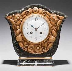 BRASS AND MARBLE TABLE CLOCK / FRENCH, CIRCA 1920