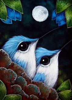 Art 'BABY BLUE HUMMINGBIRDS 1ST FULLMOON' - by Cyra R. Cancel from