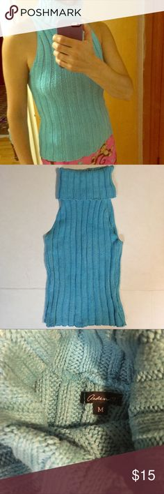 ⭐️Arden B chunky turtleneck sleeveless sweater Excellent condition sleeveless 100% cotton chunky turtle neck blue sweater.  Approximate measurements are; length 21 3/4 inches.  Chest width 14 inches.  Please note: sweater is stretchy.              🛍BUNDLE=SAVE  🚫TRADE  💯Authentic  🖲USE BLUE OFFER BUTTON TO NEGOTIATE   ✔️Ask Questions Not Answered in Description--Want You to Be Happy! Arden B Sweaters Cowl & Turtlenecks