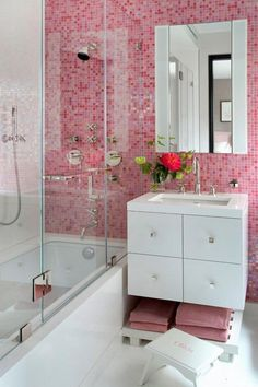 Pink Bathroom Tiles - Design photos, ideas and inspiration. Amazing gallery of interior design and decorating ideas of Pink Bathroom Tiles in bathrooms by elite interior designers. Pink Bathroom Tiles, Pink Tiles, Small Bathroom, Pink Bathrooms, Bathroom Ideas, Mosaic Bathroom, Bathroom Colors, White Bathroom, Bathroom Fixtures