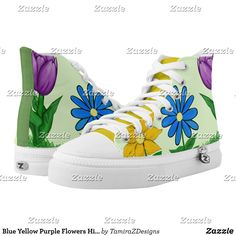 Blue Yellow Purple Flowers High Top Sneakers - Canvas-Top Rubber-Sole Athletic Shoes By Talented Fashion And Graphic Designers - Men's Sneakers, Custom Sneakers, Sneakers Fashion, Fashion Shoes, High Top Sneakers, Canvas Slip On Shoes, Graphic Designers, Purple Flowers, Blue Yellow