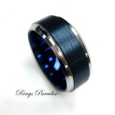 Wedding Bands Blue Rings His and Her Engagement Rings Blue Tungsten Ring Men Women Tungsten Rings Wedding Rings By Rings Paradise by RingsParadise on Etsy Big Wedding Rings, Wedding Ring For Him, Wedding Men, Wedding Ring Bands, Trendy Wedding, Gold Wedding, Mens Wedding Bands Blue, Irish Wedding, Luxury Wedding