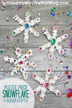 #AD Puzzle Piece Snowflake Ornaments - Christmas Kid Craft Idea