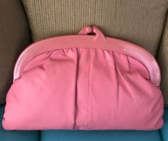 Vintage 80s DUSTY ROSE PINK Faux Leather Montreal Clutch Handbag | eBay #handbags80s