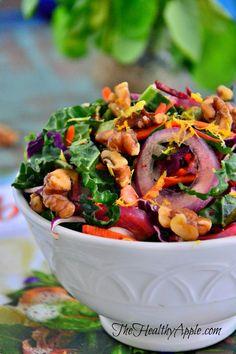 Confetti Chopped Kale, Walnut and Beet Salad {Raw, Gluten-Free, Dairy-Free, Vegan}