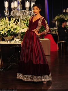 Maroon anarkali by Manish Malhotra at Delhi Couture Week 2013