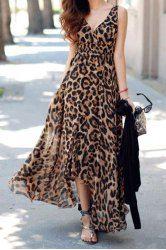 Sexy Plunging Neck Sleeveless Leopard Print Asymmetrical Women's Dress