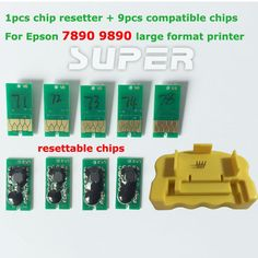 53.99$  Buy here - http://aliil3.worldwells.pw/go.php?t=32719589545 - 1PCS Chip Resetter + 9PCS for Epson 7890 9890 Compatible Chips Resettable Chips