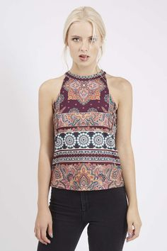 PETITE Scarf Print High Neck Top - Festival - Clothing - Topshop